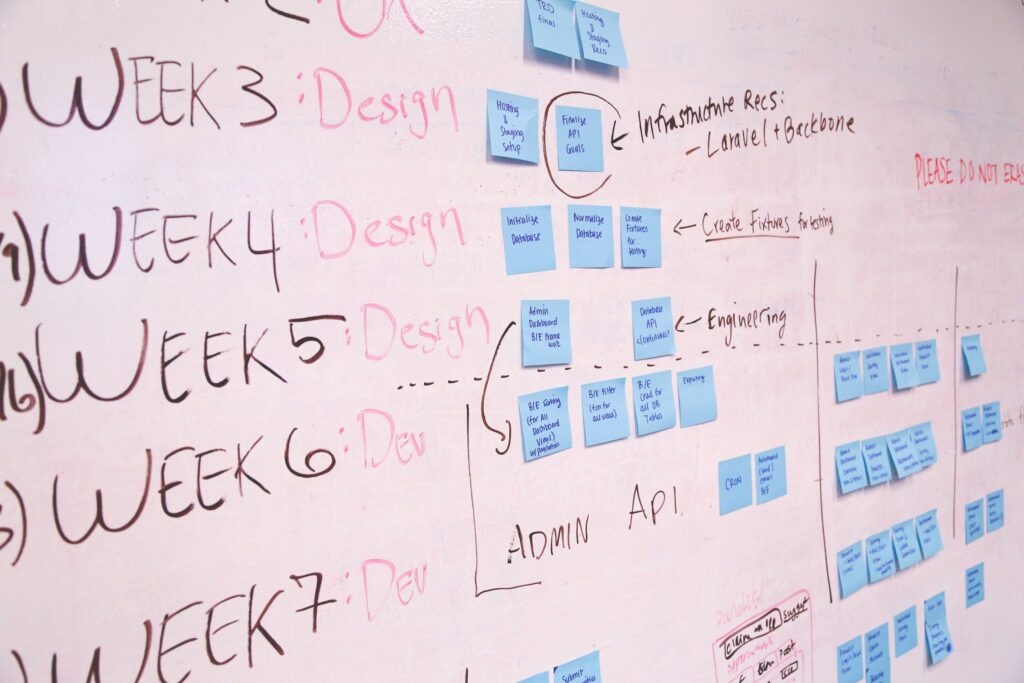 Notes and post-its on a whiteboard outlining a weekly schedule.