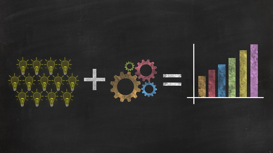 An illustration of light bulbs and gears resulting in upward metrics.